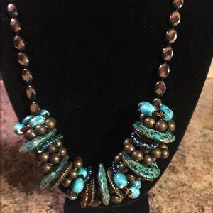 🌹BOGO🌹 handmade brown & turquoise necklace